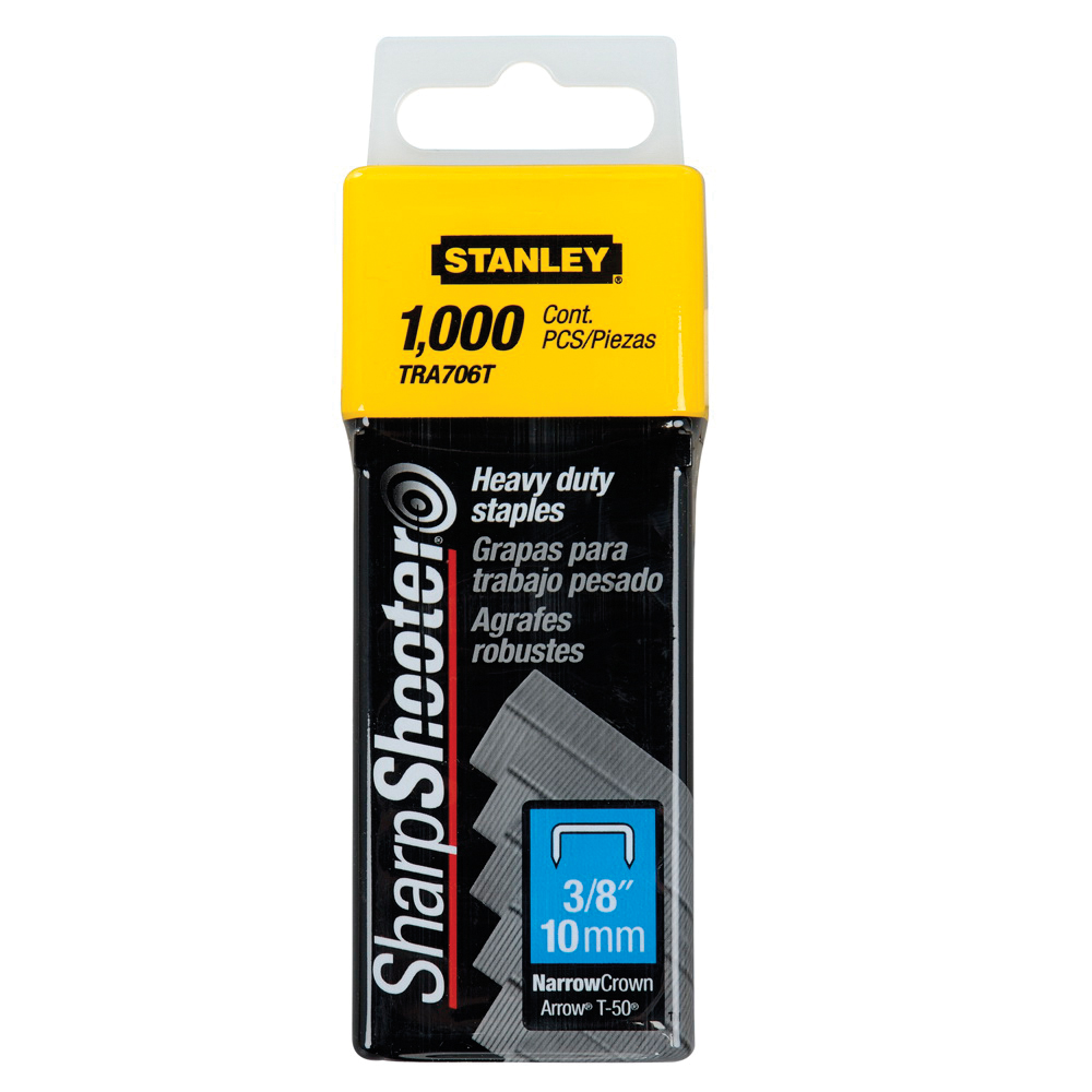 Stanley® TRA705TCS TRA700 Heavy Duty Narrow Crown Staples, 5/16 in L Leg, Chisel Point, Steel, 27/64 in W Crown