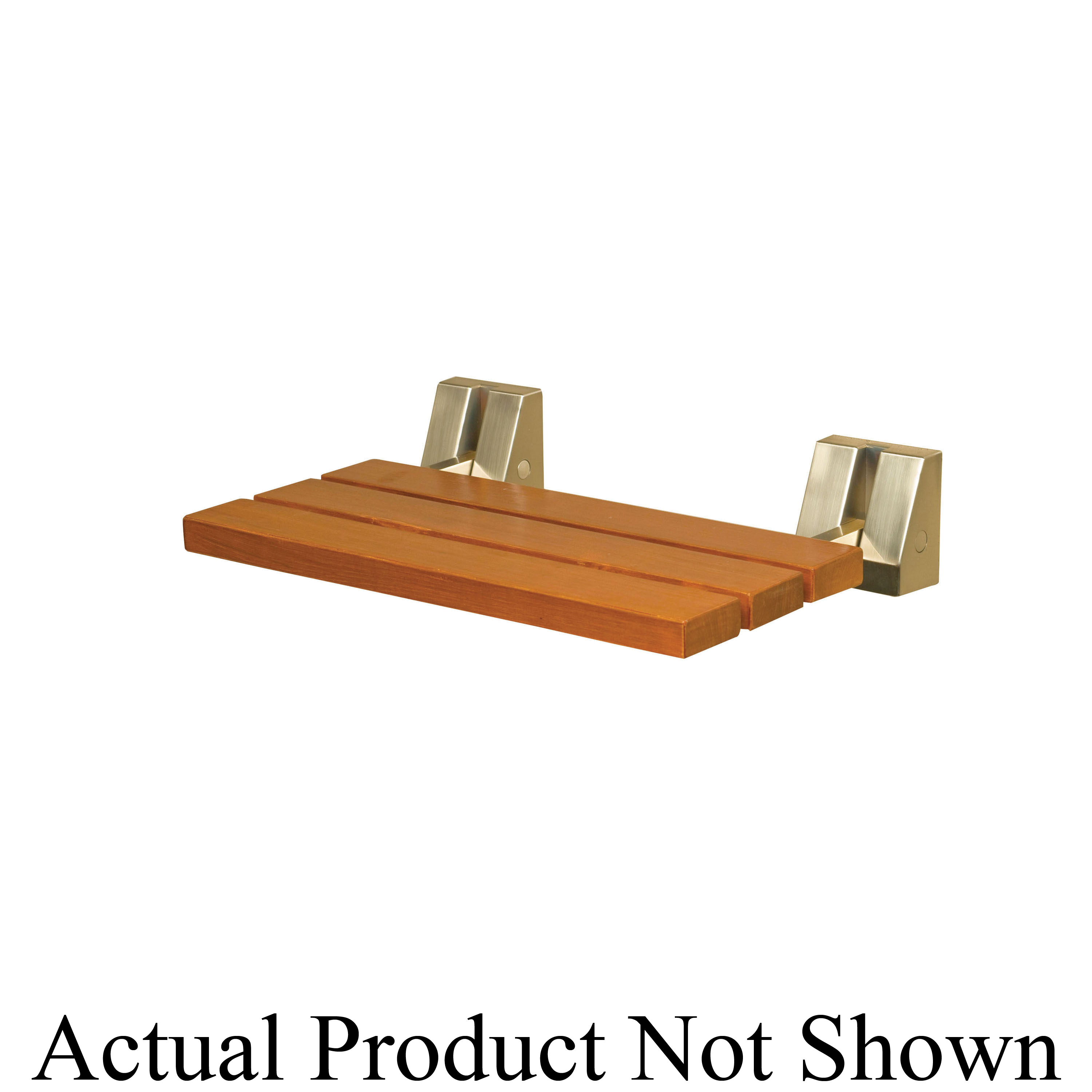 Steamist® 9106 Tilt Up Bath Seat With Brass Tubular Support Arm, Wall Mount, 250 lb, Teakwood, Import