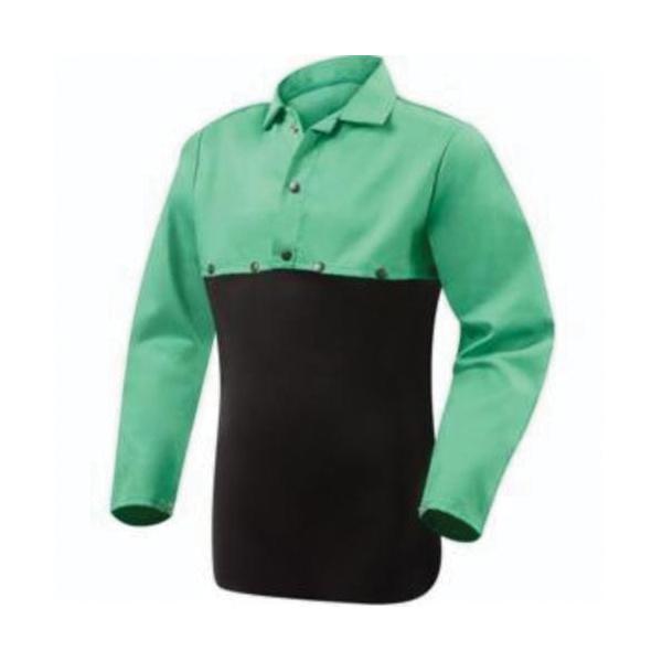 Steiner® 10315 Flame Retardant Bib, 23 in W, Green, Cotton, Snap Closure
