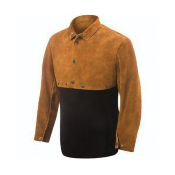 Ironcat® 7001/20 Welding Bib, 24 in, Yellow, Leather, Anodized Snap Closure