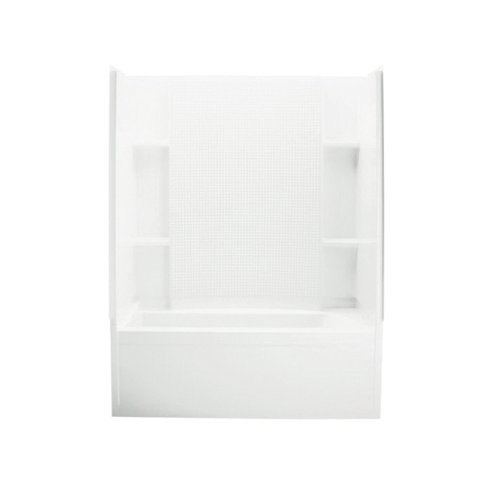 Sterling® 71150110-0 Tile Look Bath/Shower, Accord®, 60-1/4 in L x 33-1/4 in W x 75-1/2 in H, Vikrell®, White