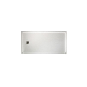 Swan® FB03060LM.010 Barrier-Free Shower Floor With Fit-Flo™ Drain, White, Left Drain, 60 in W x 30 in D, Domestic