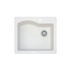 Swan® QZ02522SB.075 Drop-In Kitchen Sink, 21-3/8 in L x 17-7/8 in W x 9 in D Bowl, 25 in L x 22 in W x 9-1/2 in H, Granite, Bianca