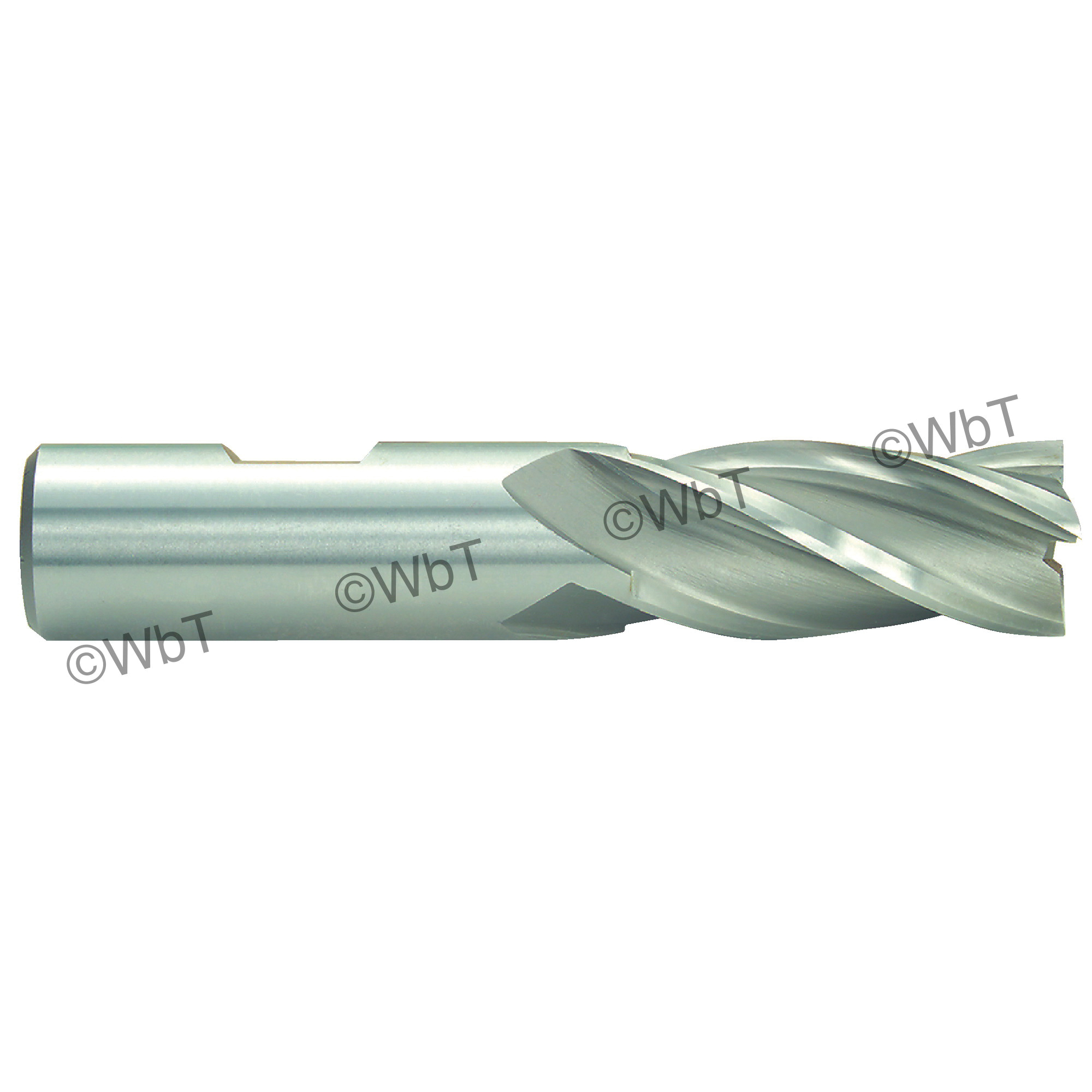 TTC 08-005-060 D2 General Purpose Non-Center Cutting Single Square End Mill, 1/4 in Dia Cutter, 5/8 in Length of Cut, 4 Flutes, 3/8 in Dia Shank, 2-7/16 in OAL, Bright