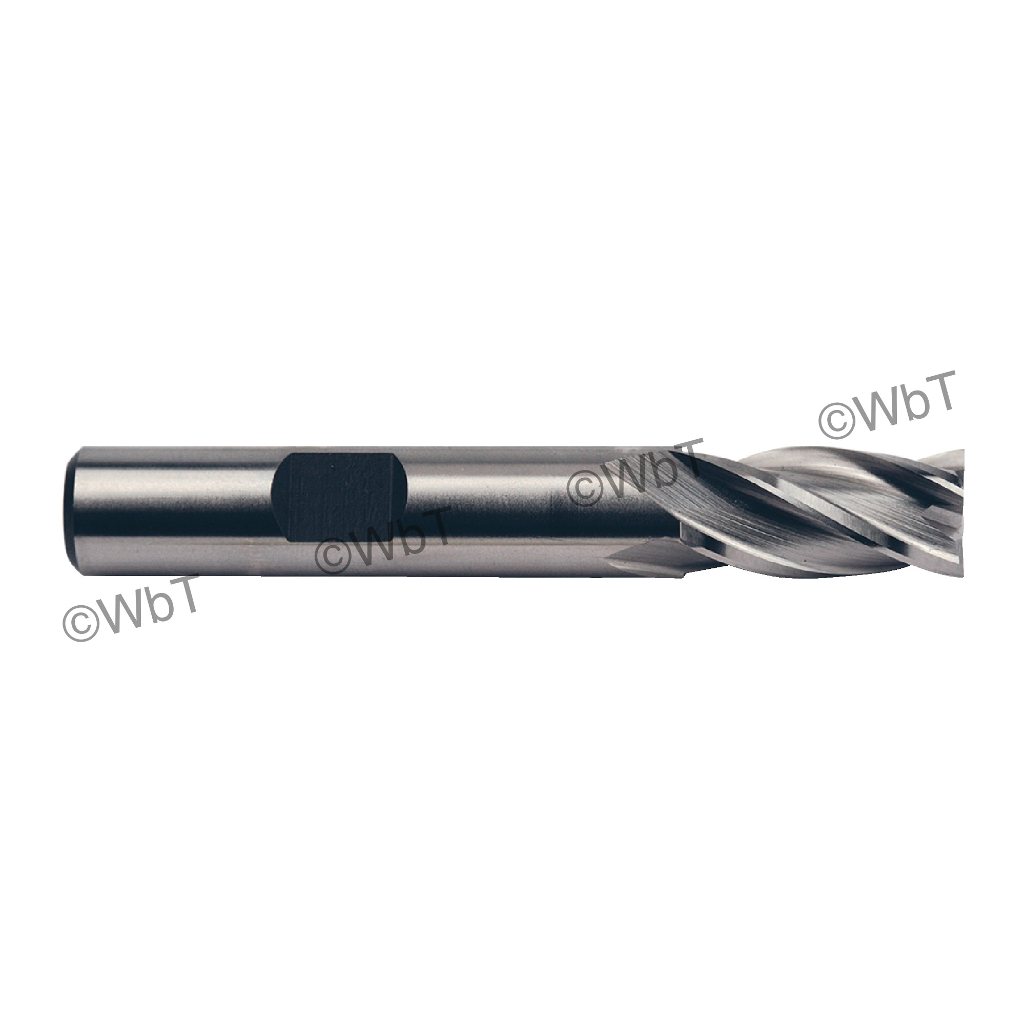 TTC 08-015-060 D5 Center Cutting Standard Length Single End Mill, 1/4 in Dia Cutter, 5/8 in Length of Cut, 4 Flutes, 3/8 in Dia Shank, 2-7/16 in OAL, Bright