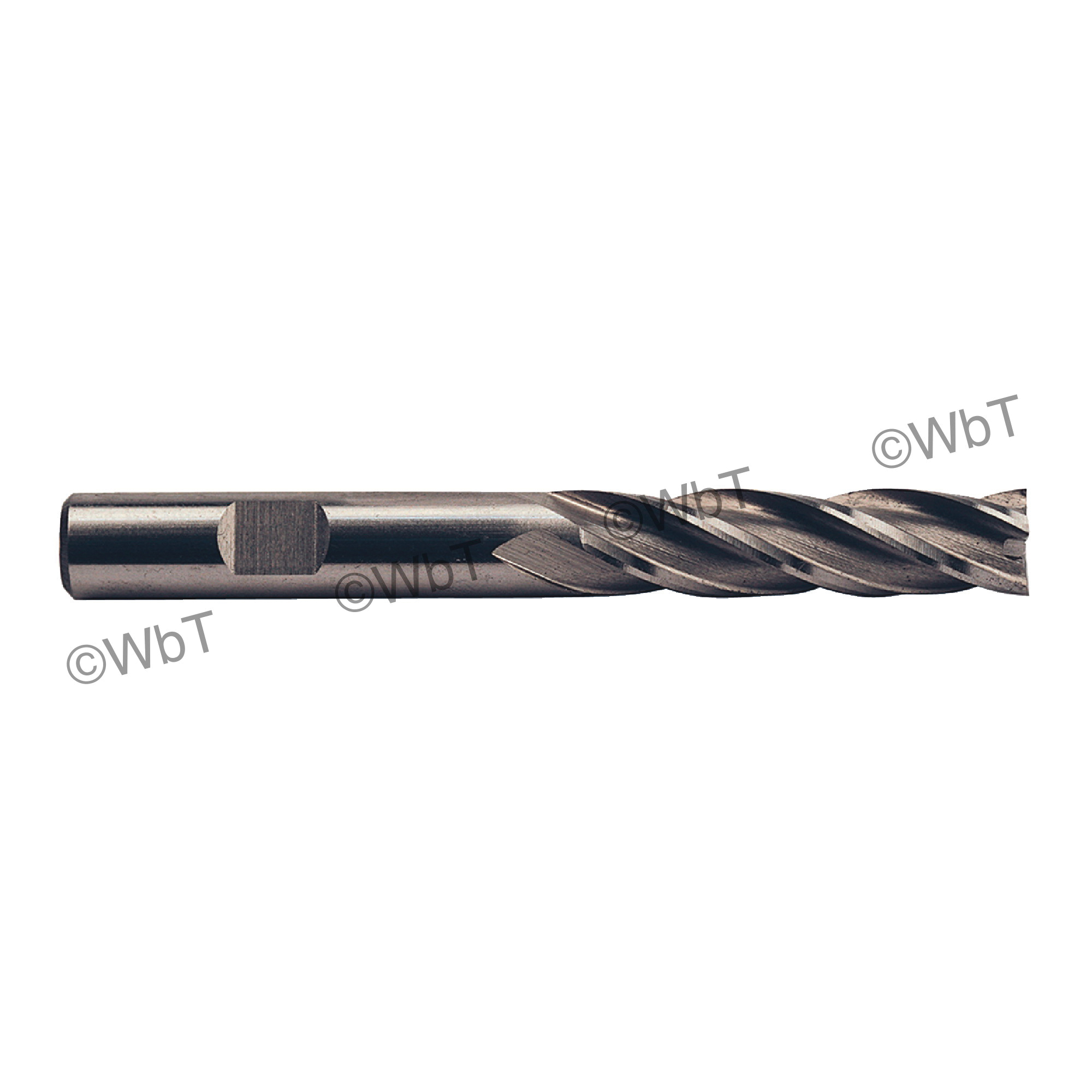 TTC 08-016-020 D6 Center Cutting Long Length Single End Mill, 1/4 in Dia Cutter, 1-1/4 in Length of Cut, 4 Flutes, 3/8 in Dia Shank, 3-1/16 in OAL, Bright