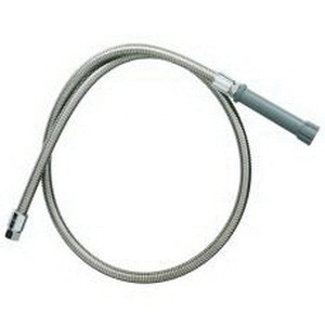 T & S B-0036-H Flexible Hose With Gray Handle, 3/4-14 UN Female Inlet/Outlet, 36 in Stainless Steel Spray Hose