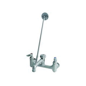 T & S B-0665-BSTR Service Sink Faucet, Wall Mount, 2 Handles, 8 in Center, 12.96 gpm Flow Rate, Rough Chrome