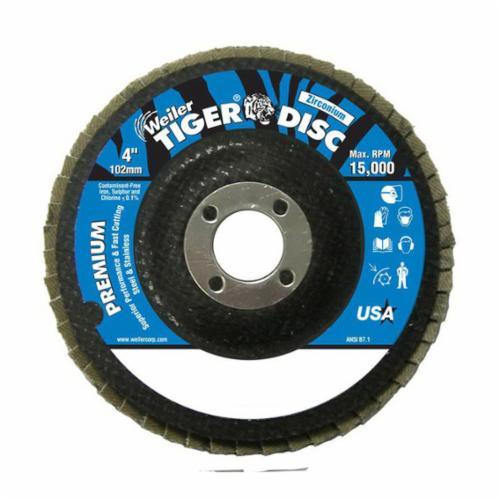 Tiger® 50594 Premium Coated Abrasive Flap Disc, 4 in Dia, 5/8 in Center Hole, 60 Grit, Medium Grade, Zirconia Alumina Abrasive, Type 29/Angled Disc