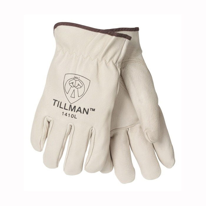 Tillman™ 1405-L 1405 Economy Grade General Purpose Gloves, Drivers, Gunn Cut/Keystone Thumb Style, L, Split Cowhide Leather, Russet, Unlined Lining