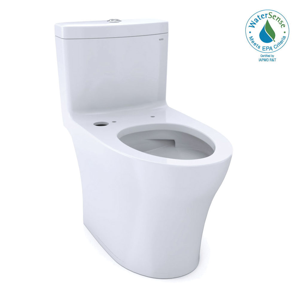 Toto® CST646CUMFGAT40#01 1-Piece Ultra High-Efficiency Toilet With CEFIONTECT® Ceramic Glaze, Aquia® IV, Elongated Bowl, 16-1/8 in H Rim, 12 in Rough-In, 1 gpf, Cotton White, Domestic