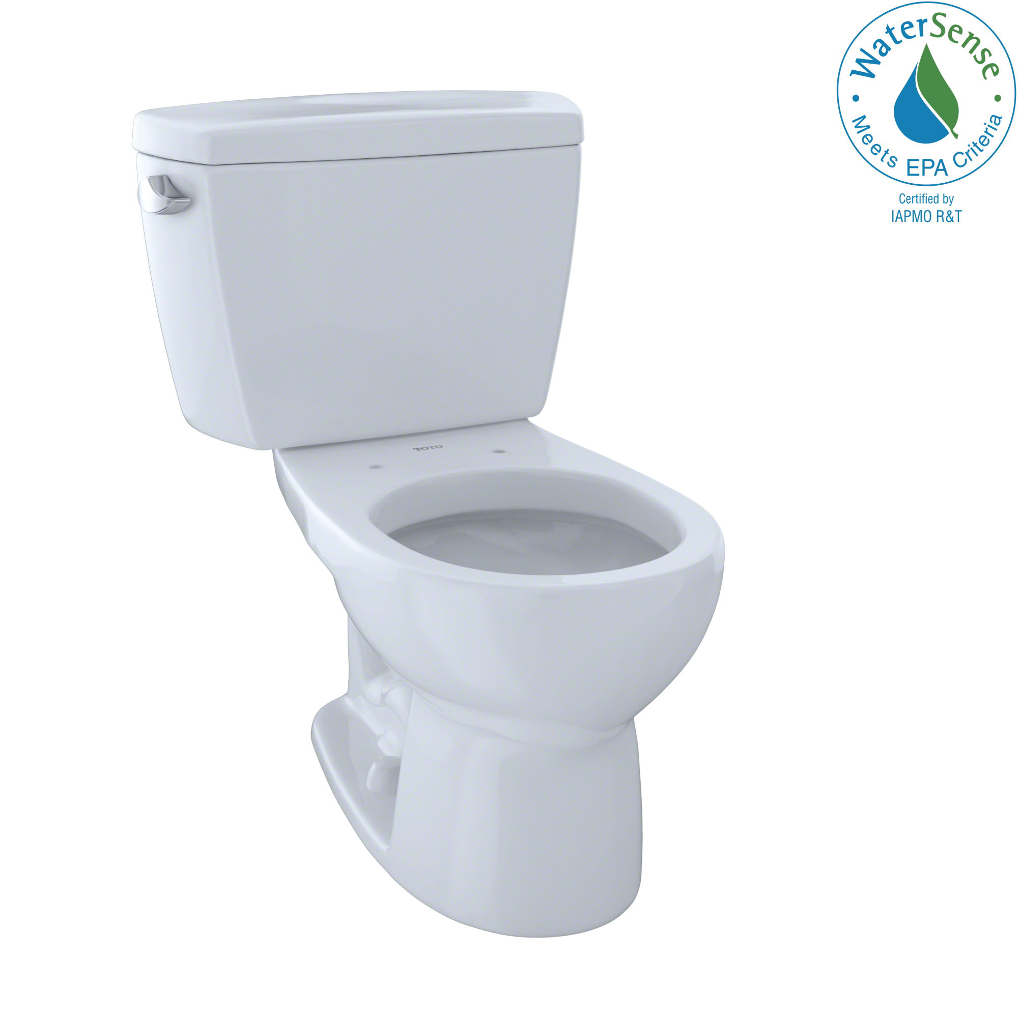 Toto® Eco Drake® CST743E#01 2-Piece Universal Height Close Coupled Toilet With Left-Hand Chrome Trip Lever, Round Front Bowl, 15-5/8 in H Rim, 12 in Rough-In, 1.28 gpf, Cotton White, Import