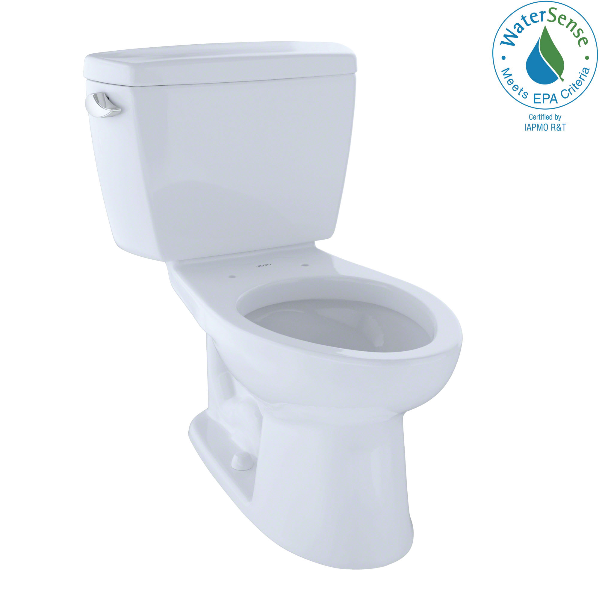Toto® Eco Drake® CST744E#01 2-Piece Universal Height Close Coupled Toilet With Left-Hand Chrome Trip Lever, Elongated Front Bowl, 15-5/8 in H Rim, 12 in Rough-In, 1.28 gpf, Cotton White, Import