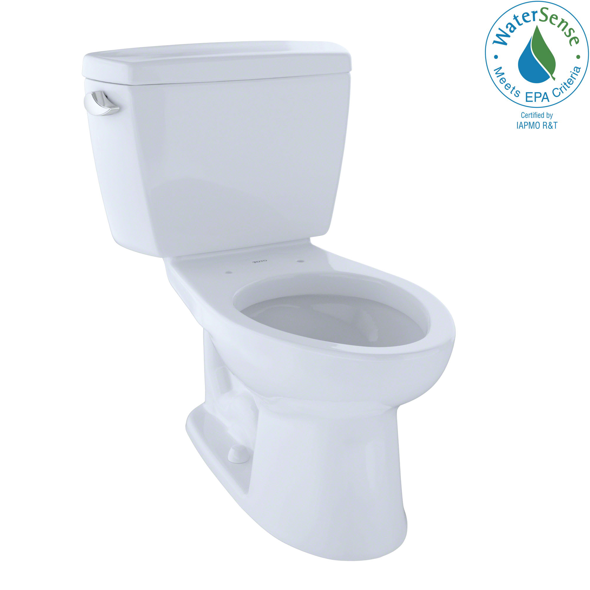 Toto® CST744EG#01 2-Piece Universal Height Close Coupled Toilet With Left-Hand Chrome Trip Lever, Eco Drake®, Elongated Bowl, 15-5/8 in H Rim, 12 in Rough-In, 1.28 gpf, Cotton White, Import