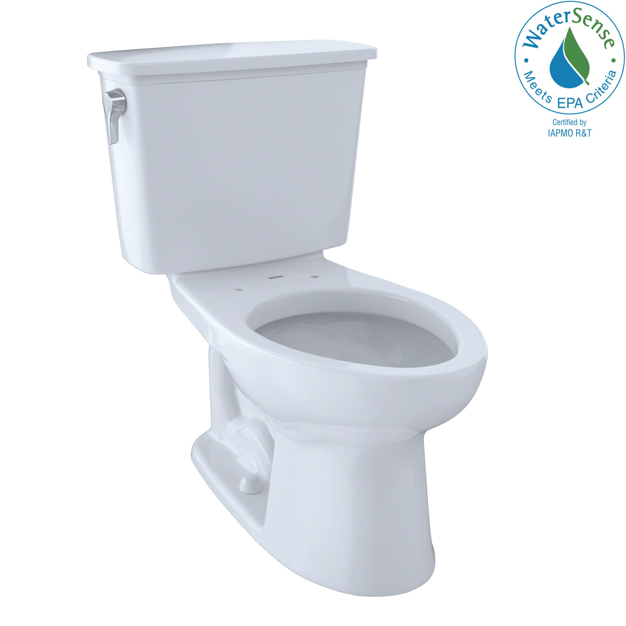 Toto® CST744ELN#01 2-Piece Transitional Universal Height Toilet With Left-Hand Chrome Trip Lever, Eco Drake®, Elongated Bowl, 17-5/8 in H Rim, 12 in Rough-In, 1.28 gpf, Cotton White, Import