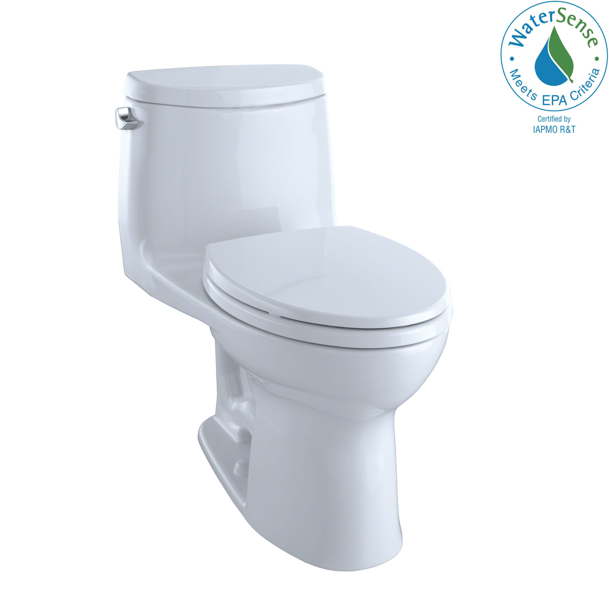 Toto® UltraMax® II MS604114CEFG#01 1-Piece Universal Height Toilet, Elongated Front Bowl, 17-1/4 in H Rim, 12 in Rough-In, 1.28 gpf, Cotton White, Domestic
