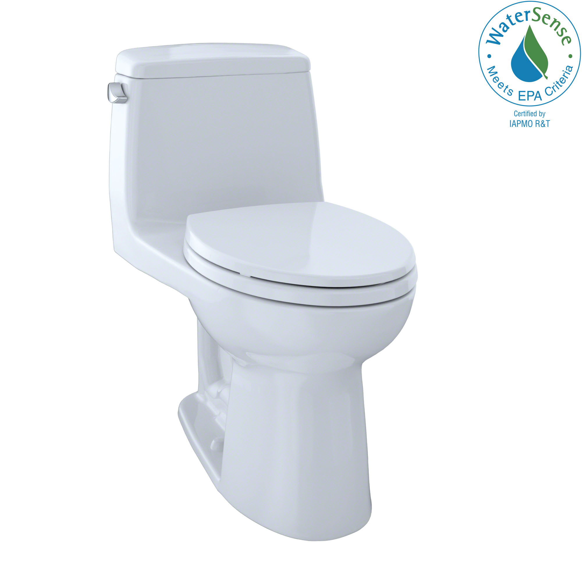 Toto® MS854114E#01 1-Piece Universal Height Toilet With Left-Hand Chrome Trip Lever, Eco UltraMax®, Elongated Bowl, 15-11/16 in H Rim, 12 in Rough-In, 1.28 gpf, Cotton White, Domestic