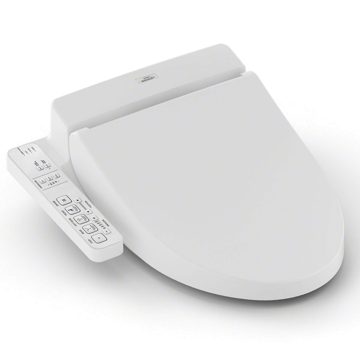 Toto® SW2033R#01 WASHLET® C100 Electronic Bidet Toilet Seat, Round Bowl, Closed Front, Plastic, Cotton White, SoftClose® Hinge, Import