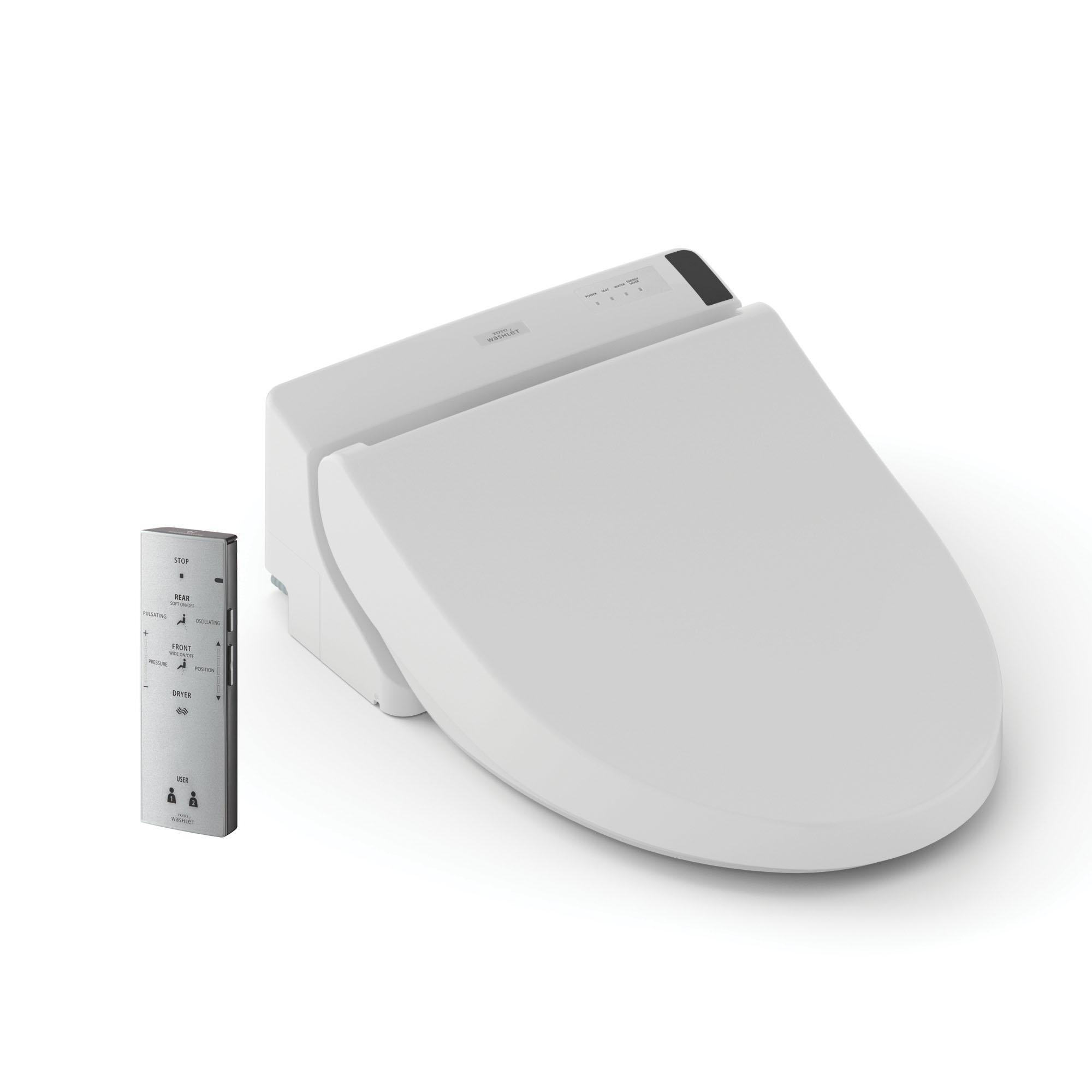 Toto® SW2043R#01 WASHLET® C200 Electronic Bidet Toilet Seat, Round Bowl, Closed Front, Plastic, Cotton White, SoftClose® Hinge, Import