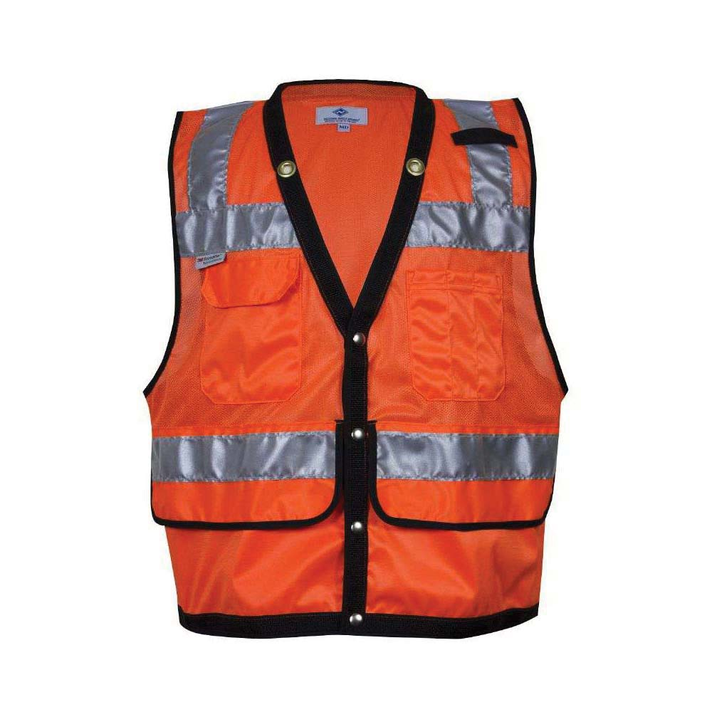 VIZABLE® VNT8015-5X VNT8015 Series Survey and Construction Mesh Safety Vest, 5X-Large, High Visibility Fluorescent Orange, 3 oz Breathable Polyester Micro Mesh, Snap Front Closure