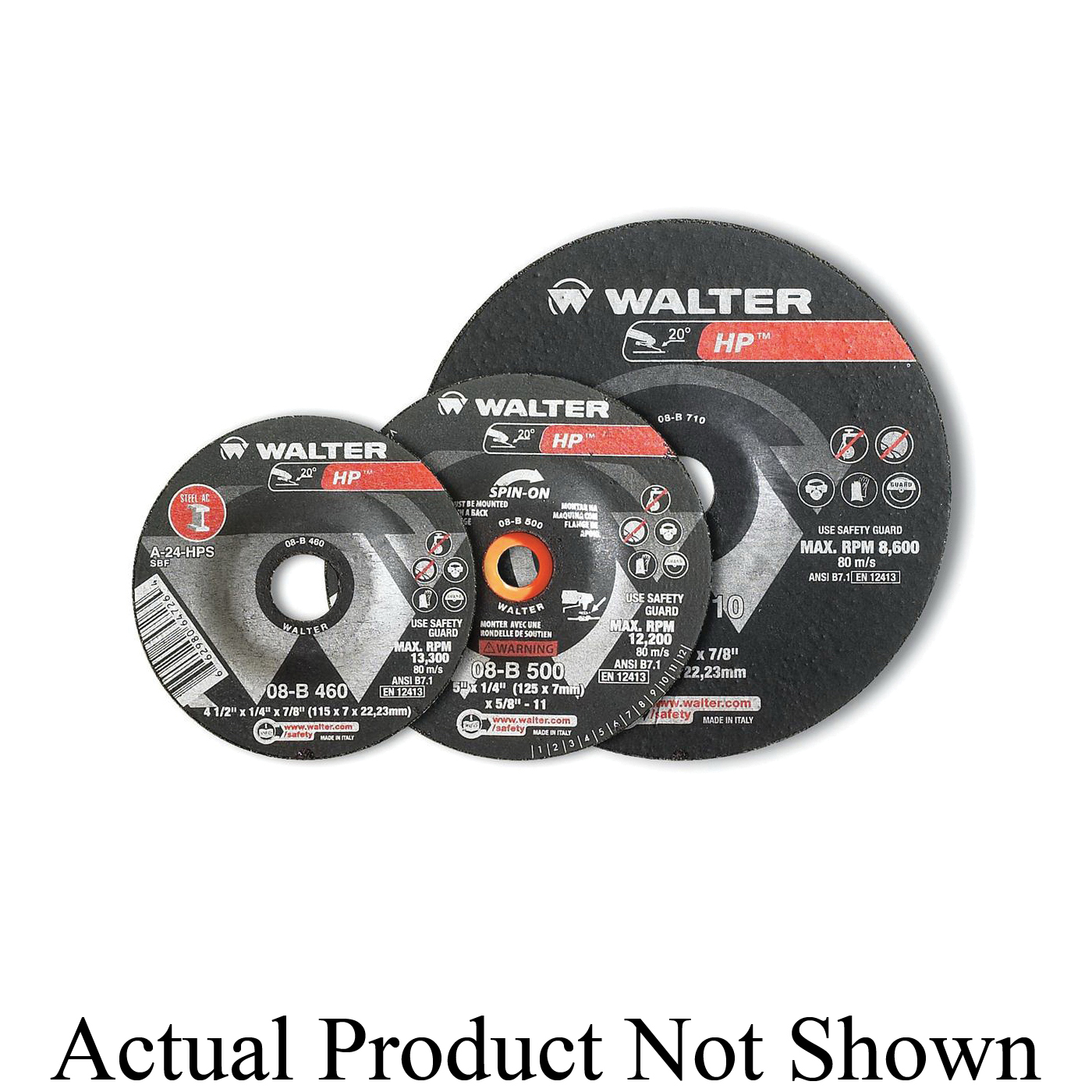 Walter Surface Technologies Enduro-Flex Stainless™ 06F608 06-F Close Spin-On Coated Flap Disc, 6 in Dia Disc, 80 Grit, Medium Grade, Zirconia Alumina Abrasive, Type 27S Disc