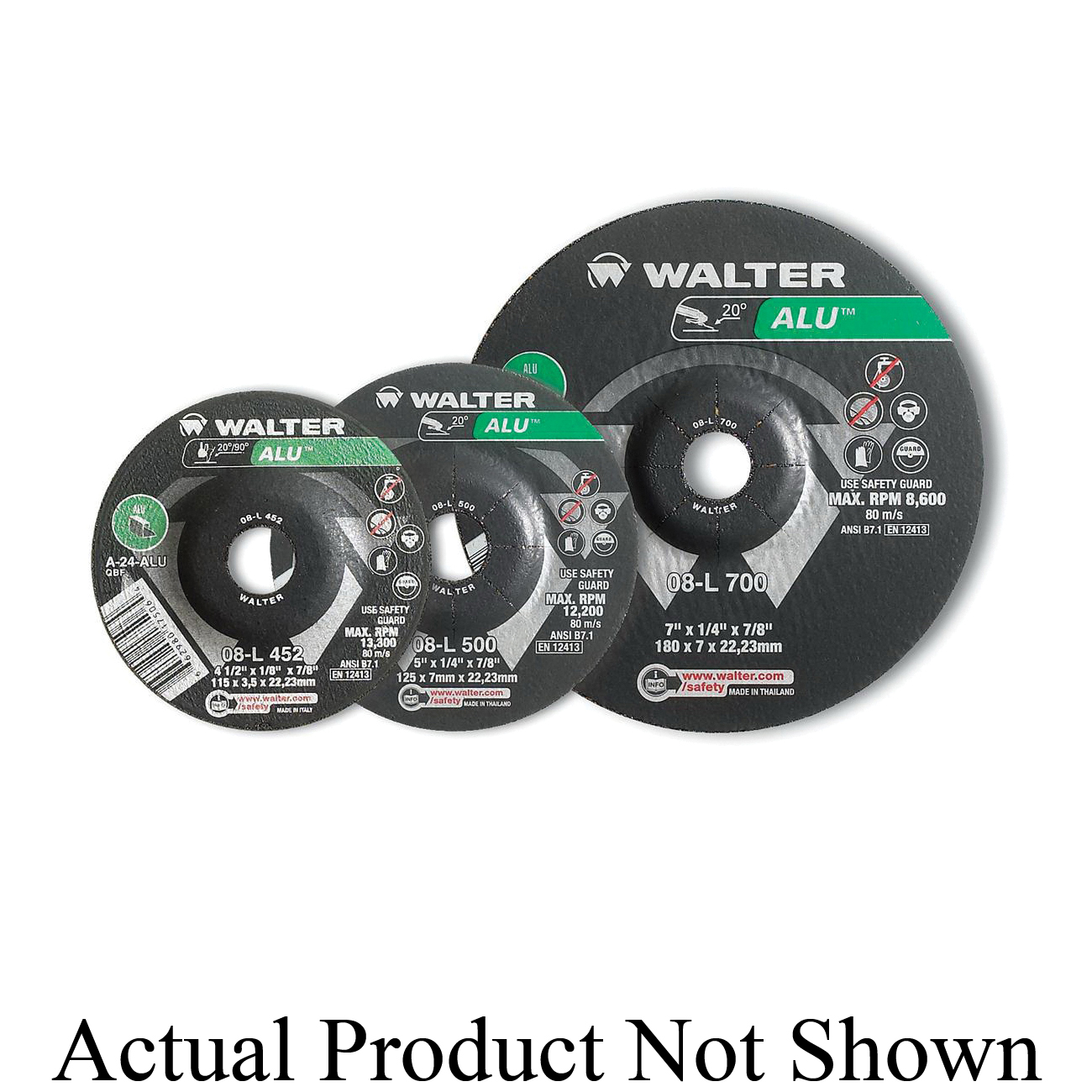 Walter Surface Technologies ALLSTEEL™ 08C452 Flat General Purpose Depressed Center Wheel, 4-1/2 in Dia x 1/8 in THK, 7/8 in Center Hole, 24 Grit, Aluminum Oxide Abrasive