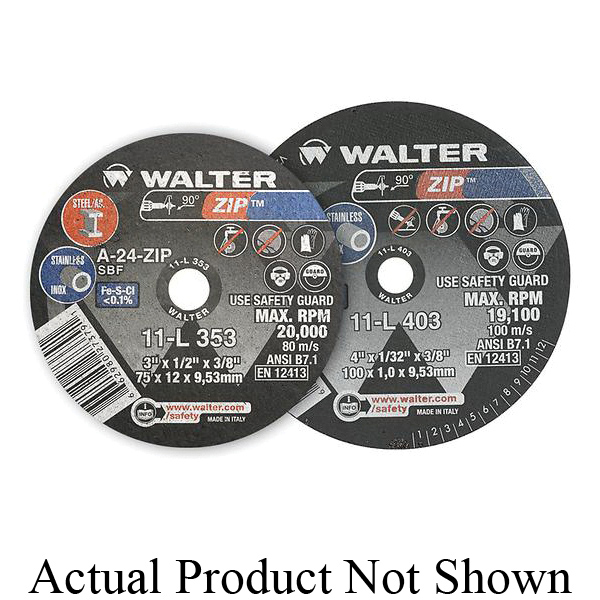 Walter Surface Technologies 08L500 ALU™ Flat Depressed Center Wheel, 5 in Dia x 1/4 in THK, 7/8 in Center Hole, 24 Grit, Aluminum Oxide Abrasive