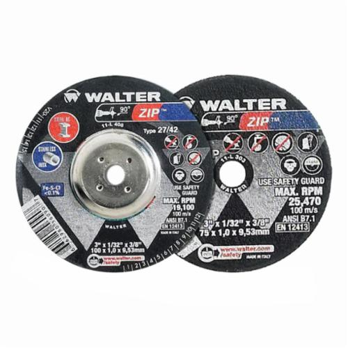 Walter Surface Technologies Zip™ 11L302 ZIP™ Type 1 Cut-Off Wheel, 3 in Dia x 1/32 in THK, 1/4 in Center Hole, A-60-ZIP Grit, Aluminum Oxide Abrasive