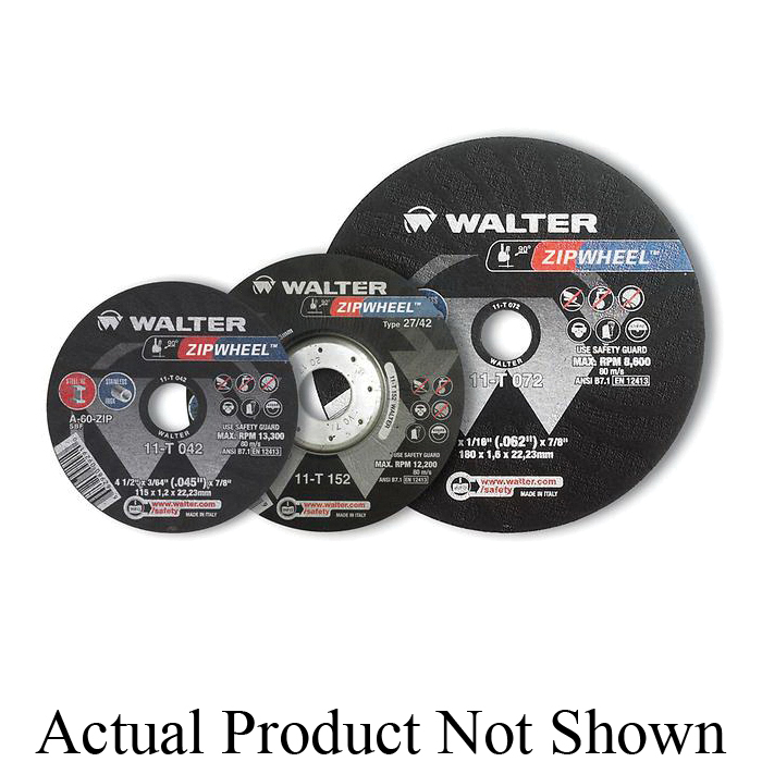 Walter Surface Technologies Zip™ 11T052 Zip™ High Performance Type 1 Cut-Off Wheel, 5 in Dia x 3/64 in THK, 7/8 in Center Hole, A-60-ZIP Grit, Aluminum Oxide Abrasive