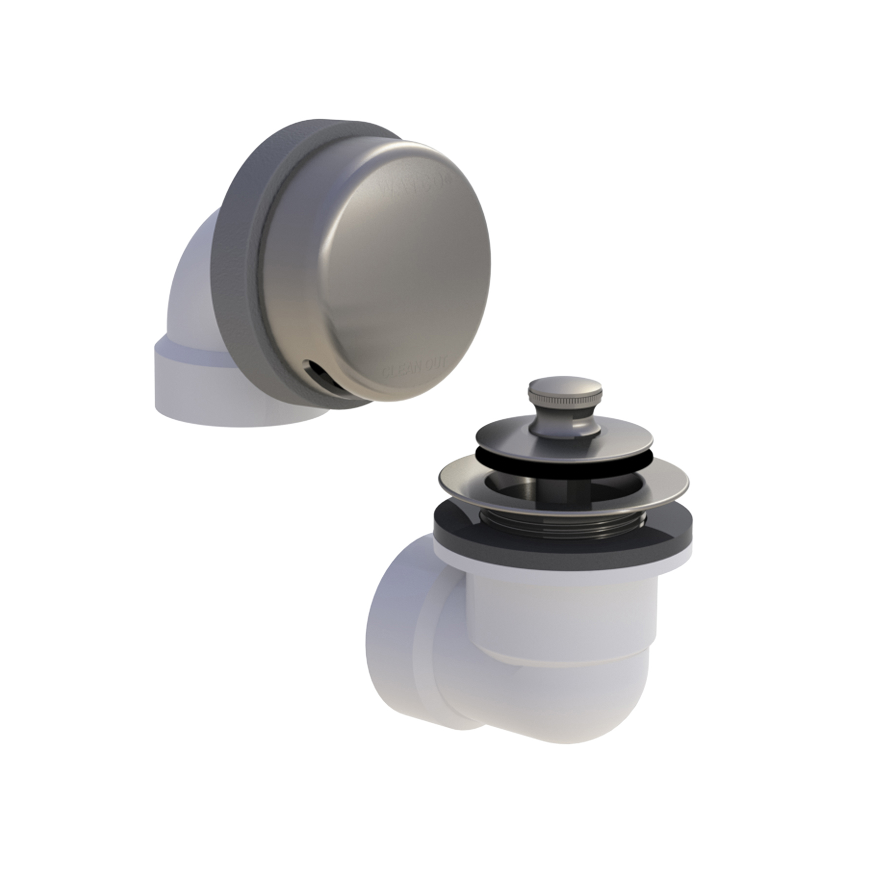 Watco® 901-LT-PVC-BN Innovator® 901 Bath Waste Half Kit With Brushed Nickel Lift and Turn Stopper, PVC