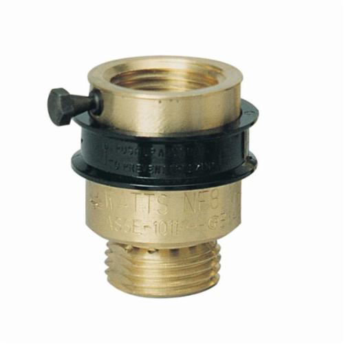 WATTS® 0061854 8 Series, NF-8 Vacuum Breaker, 3/4 in, Female Hose Threaded x Male Hose Threaded, Brass Body, Import