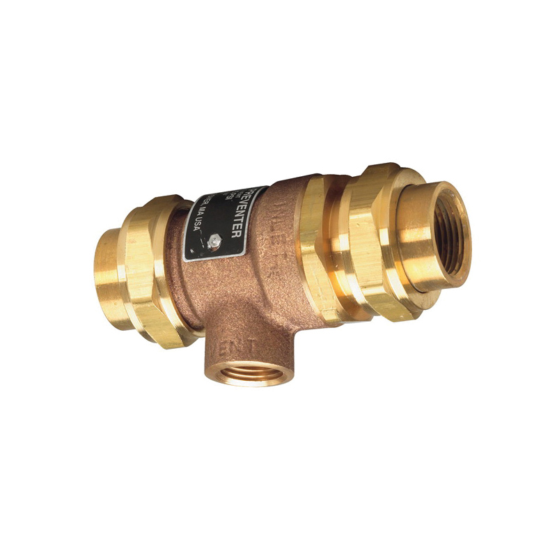 WATTS® 0061888 9D Series, 9D M2 Backflow Preventer With Atmospheric Vent, 3/4 in Nominal, Union FNPT x Union Joint End Style, Forged Brass Body, Dual Check, Domestic
