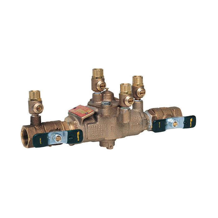WATTS® 0391005 LF009, LF009M2-QT Reduced Pressure Zone Assembly, 1-1/4 in Nominal, NPT End Style, Quarter-Turn Ball Valve, Cast Copper Silicon Alloy Body, Domestic
