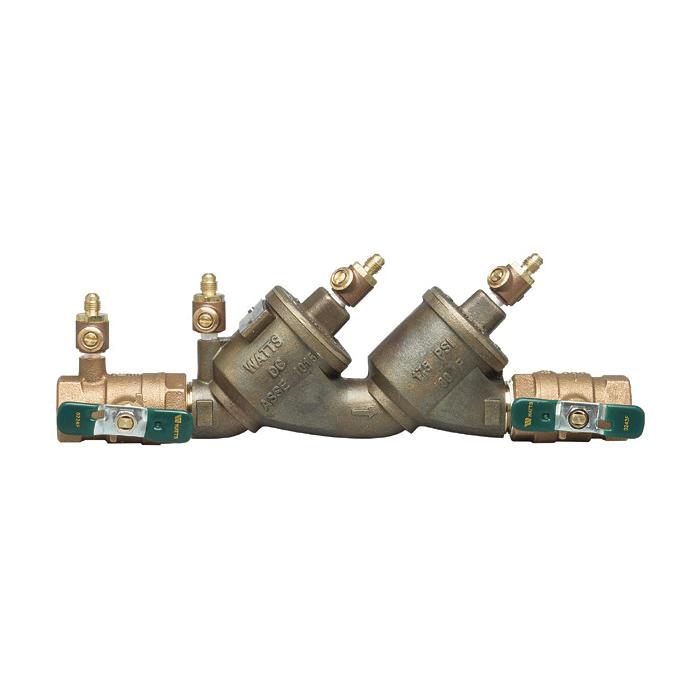 WATTS® 0065312 LF719, LF719-QT-S Double Check Valve Assembly, 2 in Nominal, Quarter-Turn Ball Valve, Cast Copper Silicon Alloy Body, Domestic