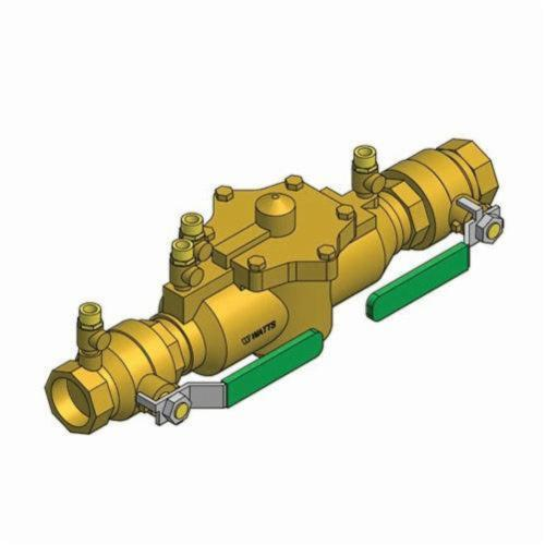 WATTS® 0062921 009, 009M2-QT Reduced Pressure Zone Assembly, 1-1/2 in Nominal, NPT End Style, Quarter-Turn Ball Valve, Bronze Body, Domestic