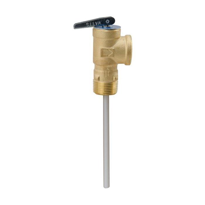 WATTS® 0556000 LF100XL, LF100XL-150210 Temperature/Pressure Relief Valve, 3/4 in Nominal, MNPT x FNPT End Style, 150 psi Pressure, Copper Alloy Body, Domestic