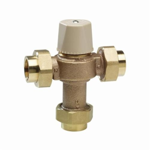 WATTS® 0559116 LFMMV, LFMMVM1-UT Thermostatic Mixing Valve, 1/2 in Nominal, Threaded Union End Style, 150 psi Pressure, 0.5 to 20 gpm Flow, Cast Copper Silicon Alloy Body, Domestic