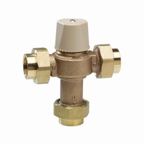 WATTS® 0559119 LFMMV, LFMMVM1-UT Thermostatic Mixing Valve, 3/4 in Nominal, FNPT End Style, 150 psi Pressure, 0.5 to 20 gpm Flow, Copper Silicon Alloy Body, Domestic