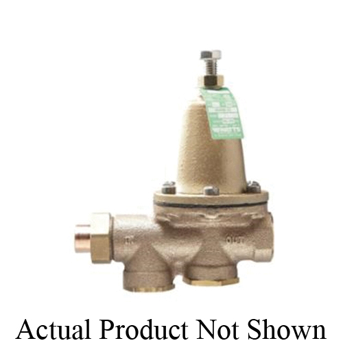 WATTS® 0009237 LF25AUB, LF25AUB-S-Z3 Standard Capacity Pressure Reducing Valve With Bypass Check Valve, 1/2 in, Solder Union Inlet x FNPT Outlet, 25 to 75 psi, Copper Silicon Alloy Body, Domestic