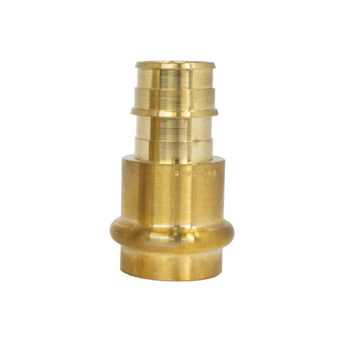 Webstone H-36802W 3680 Transition Fitting Coupling With EPDM O-Ring, 1/2 in Nominal, Press x PEX End Style, 250 psi CWP Pressure, Forged DZR Brass