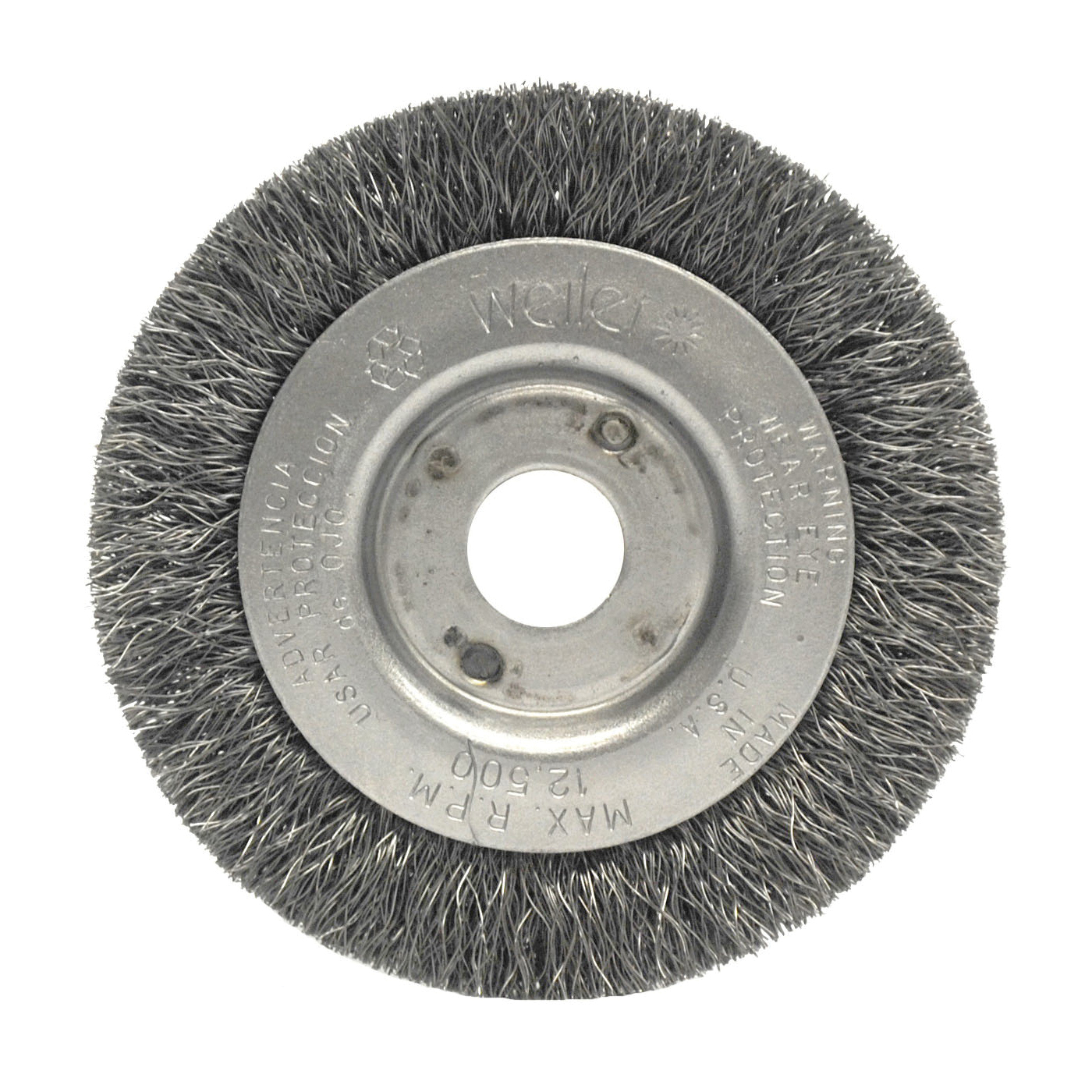 Weiler® 00204 Narrow Face Wheel Brush, 3 in Dia Brush, 7/16 in W Face, 0.006 in Dia Crimped Filament/Wire, 1/2 to 3/8 in Arbor Hole