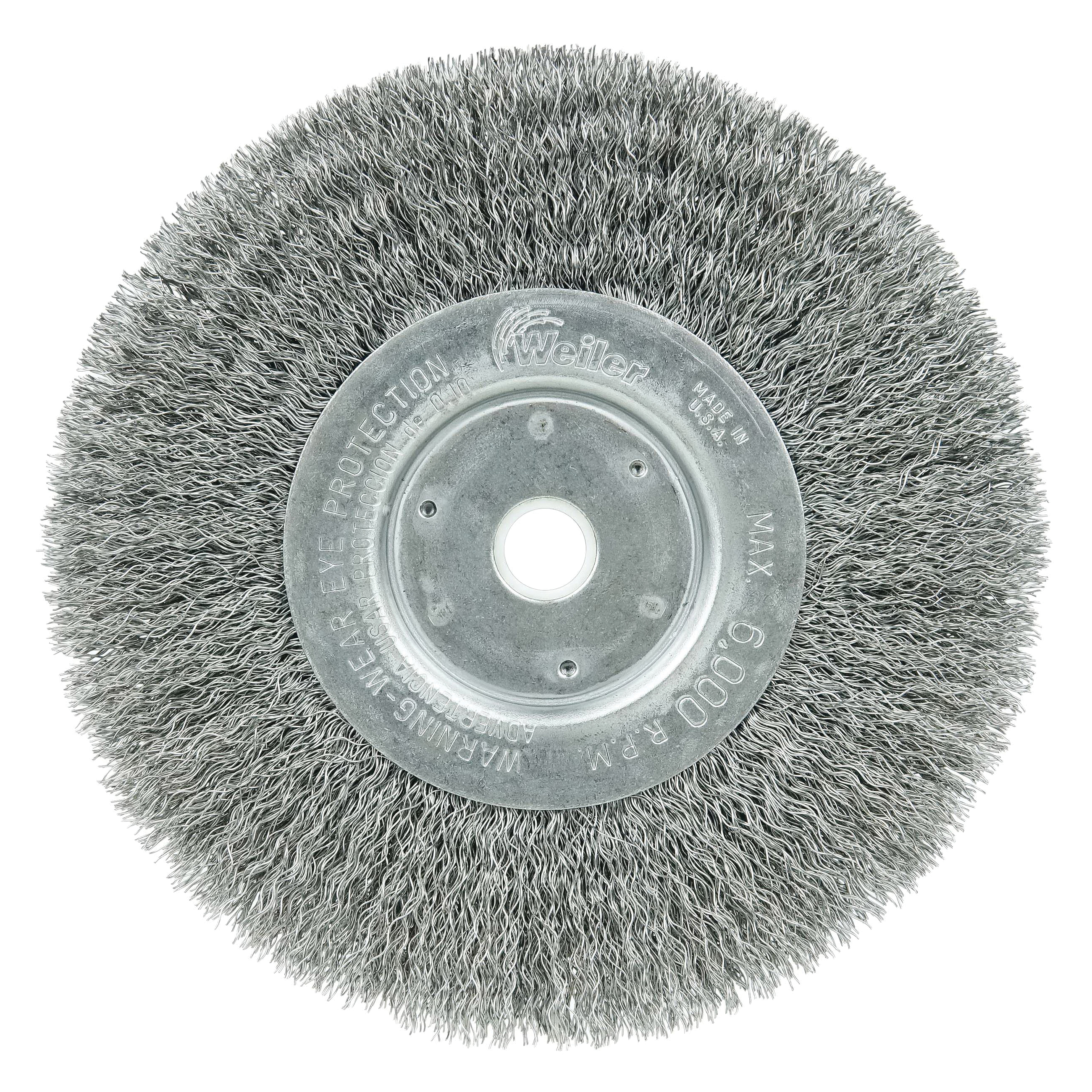 Weiler® 00214 Narrow Face Wheel Brush, 3 in Dia Brush, 7/16 in W Face, 0.008 in Dia Crimped Filament/Wire, 1/2 to 3/8 in Arbor Hole