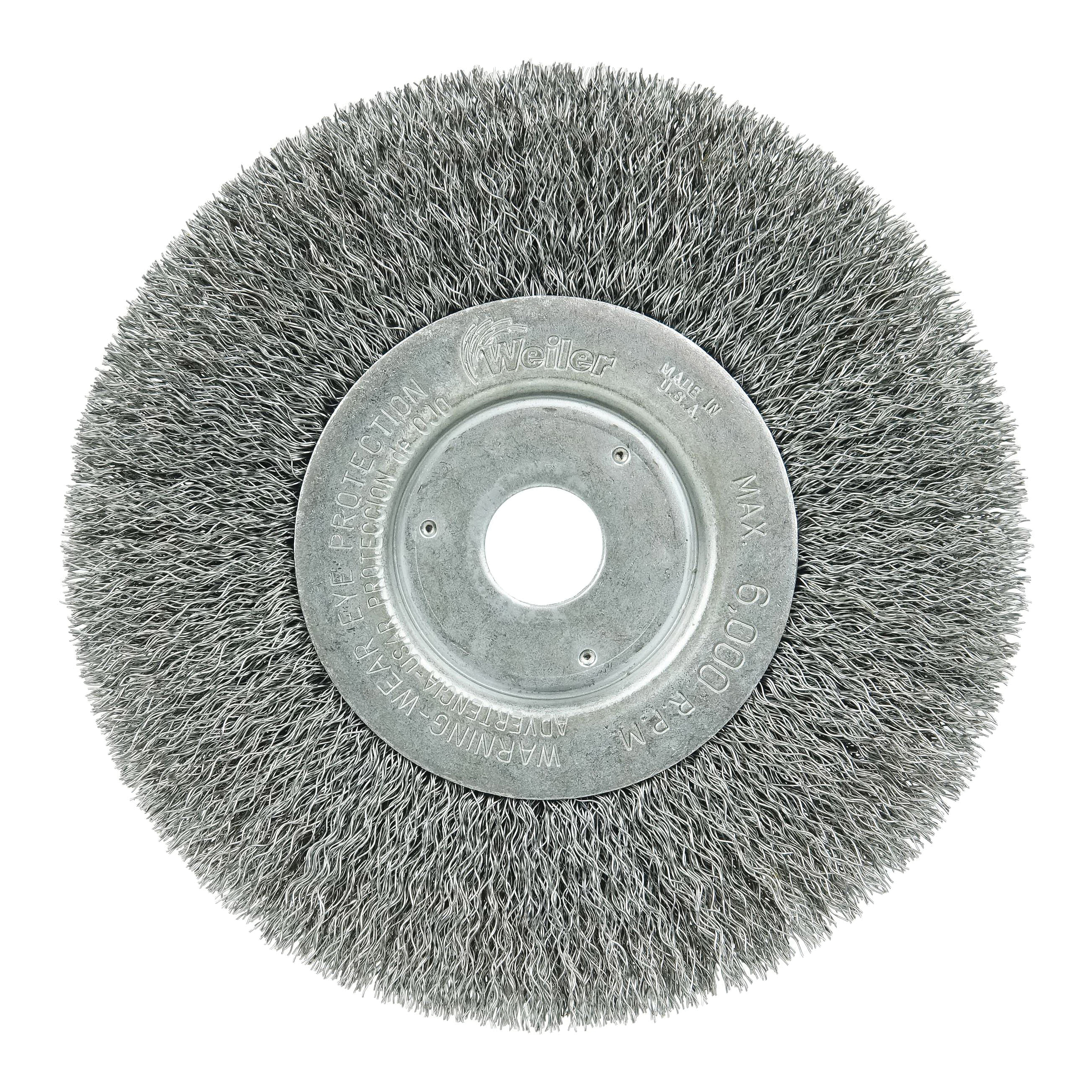 Weiler® 01055 Narrow Face Wheel Brush, 6 in Dia Brush, 3/4 in W Face, 0.0104 in Dia Crimped Filament/Wire, 1/2 to 5/8 in Arbor Hole