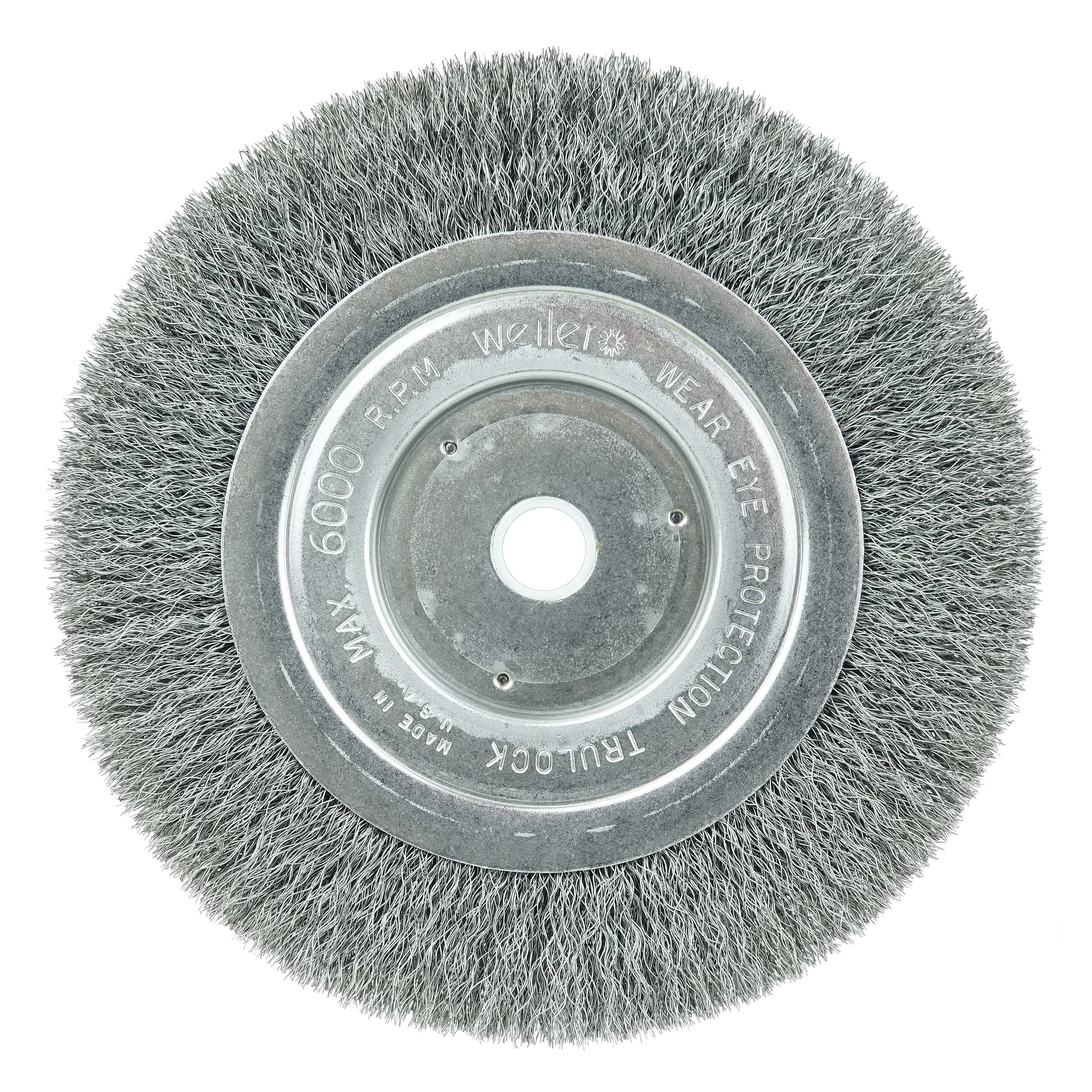 Weiler® 01168 Narrow Face Wheel Brush, 8 in Dia Brush, 3/4 in W Face, 0.0118 in Dia Crimped Filament/Wire, 3/4 in Arbor Hole