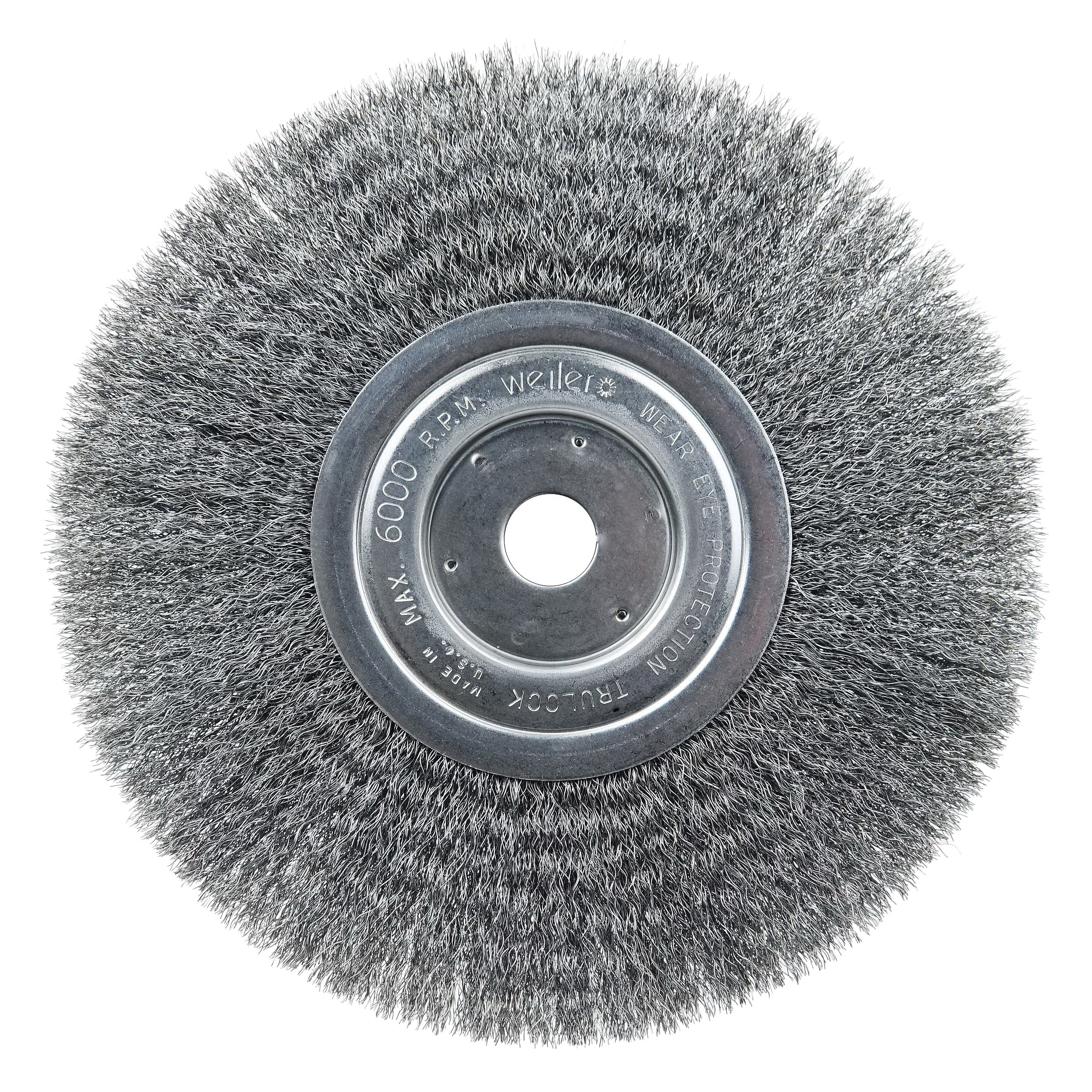 Weiler® 01115 Narrow Face Wheel Brush, 6 in Dia Brush, 1/2 in W Face, 0.0104 in Dia Crimped Filament/Wire, 1/2 to 5/8 in Arbor Hole