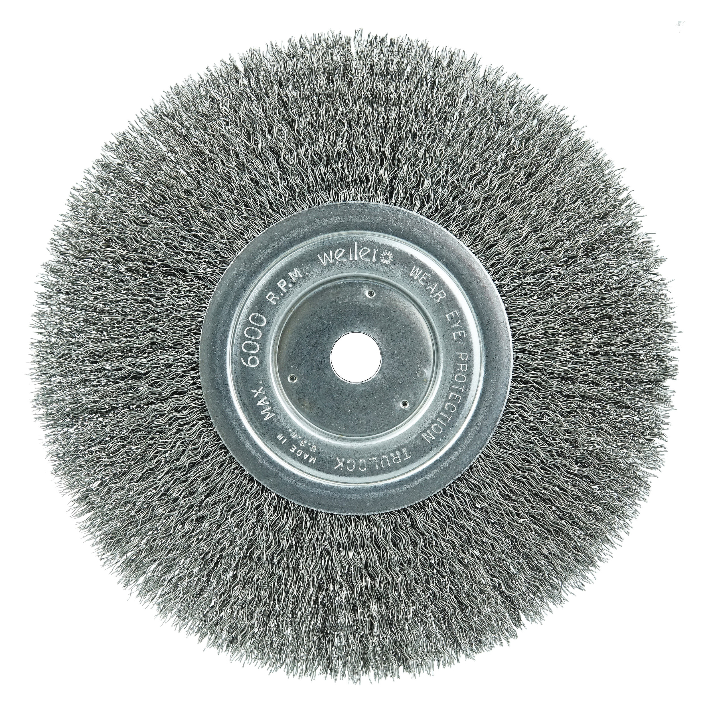 Weiler® 01075 Narrow Face Wheel Brush, 6 in Dia Brush, 3/4 in W Face, 0.014 in Dia Crimped Filament/Wire, 1/2 to 5/8 in Arbor Hole