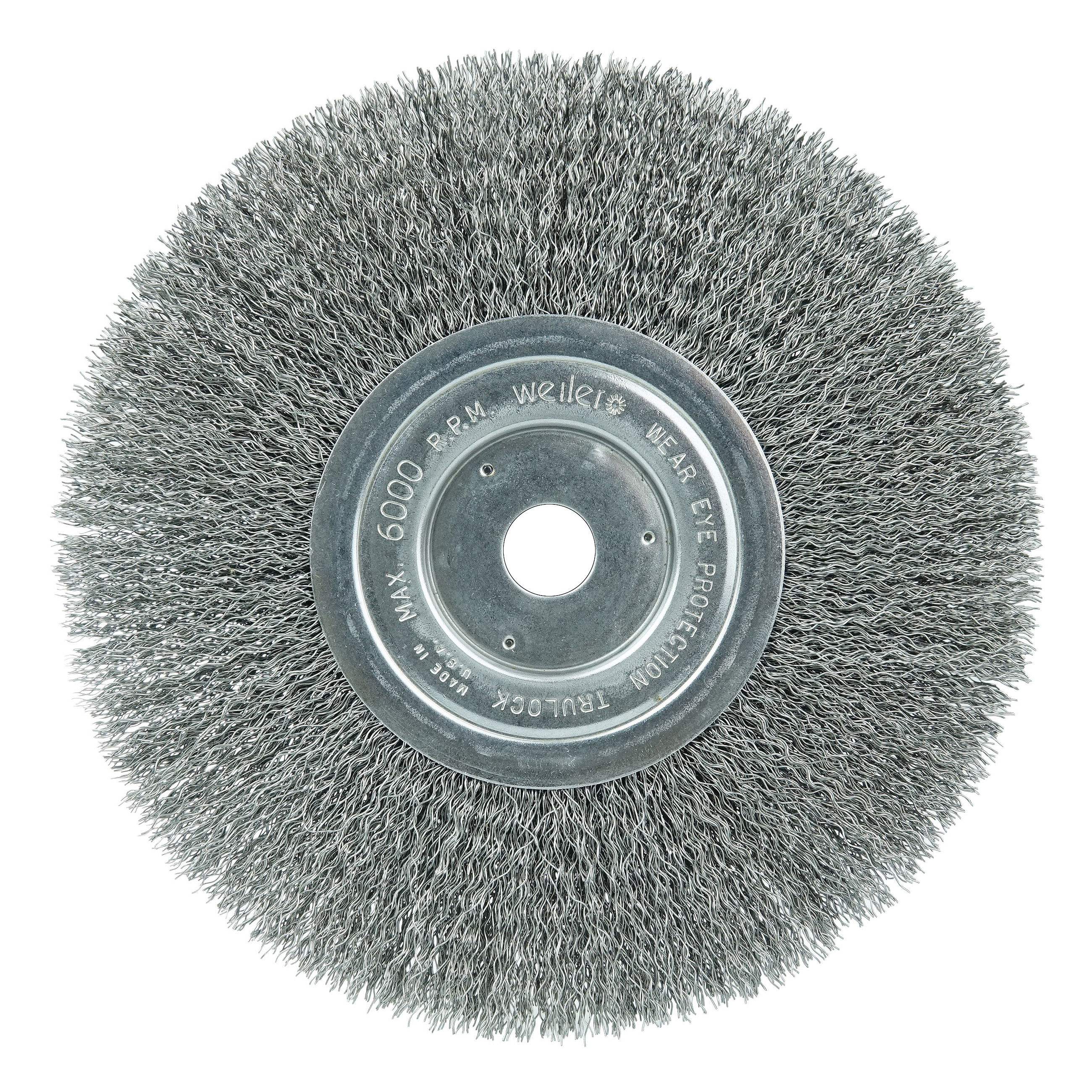 Weiler® 01175 Narrow Face Wheel Brush, 8 in Dia Brush, 3/4 in W Face, 0.014 in Dia Crimped Filament/Wire, 5/8 in Arbor Hole