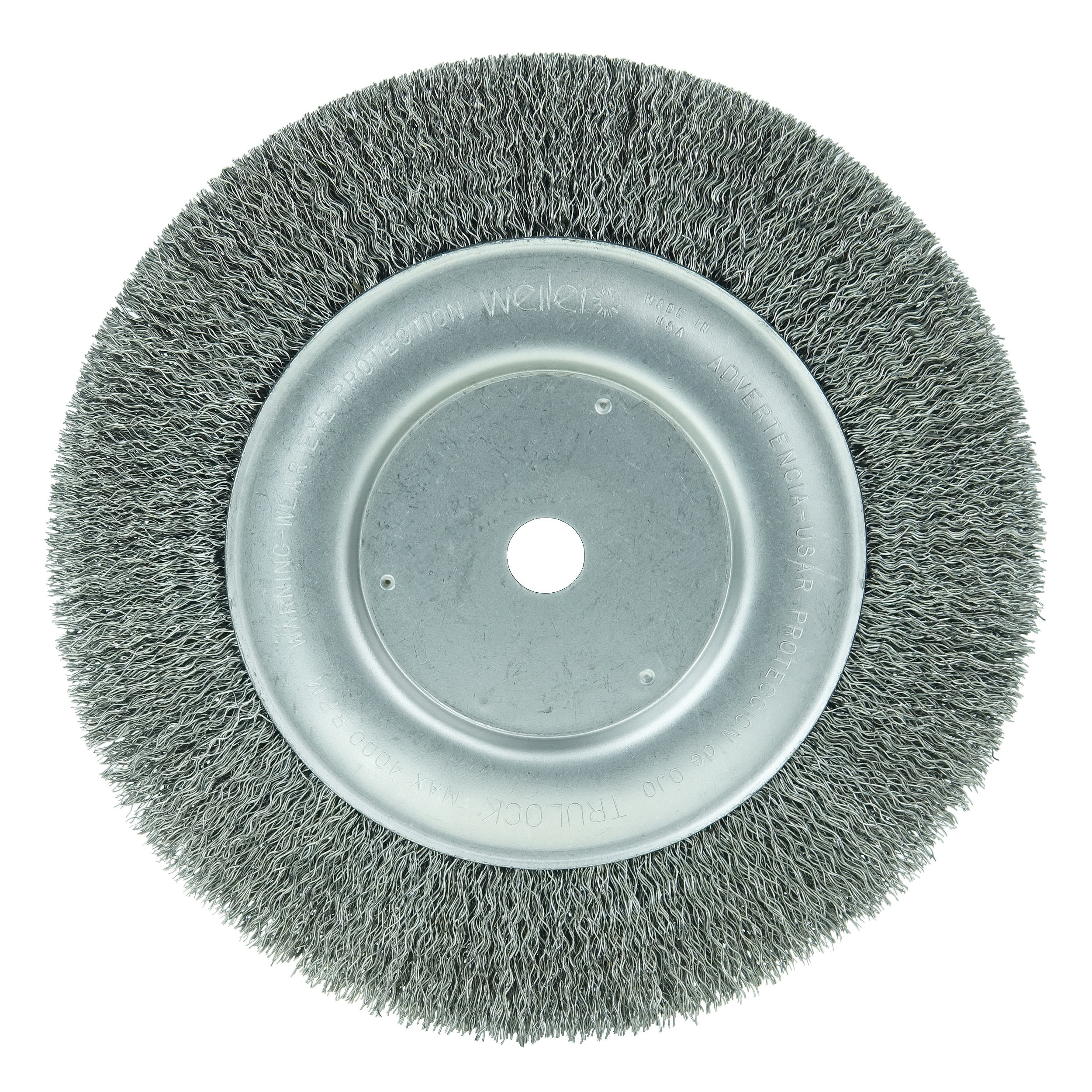 Weiler® 01178 Narrow Face Wheel Brush, 8 in Dia Brush, 3/4 in W Face, 0.014 in Dia Crimped Filament/Wire, 3/4 in Arbor Hole