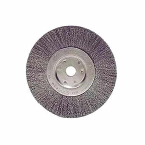 Weiler® 01045 Narrow Face Wheel Brush, 6 in Dia Brush, 3/4 in W Face, 0.008 in Dia Crimped Filament/Wire, 1/2 to 5/8 in Arbor Hole