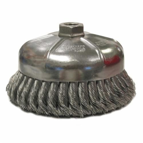 Osborn 0003345900 High Speed Cup Brush With Nut, 2-3/4 in Dia Brush, 5/8-11 UNC Arbor Hole, 0.02 in Dia Filament/Wire, Partial Twist Knot, Steel Fill
